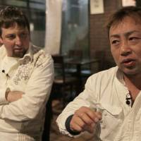 Born to be mild: Film director Jamie Morris (left) and former 'bosozoku' biker gang leader Kazuhiro Hazuki talk about the documentary 'Sayonara Speed Tribes' after it was screened in Tokyo on April 12. | COURTESY OF HEATH COZENS