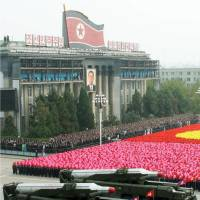 Showtime: North Korea parades medium-range missiles during a military display in Pyongyang in October 2010.   | KYODO