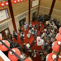 SRO: The lobby of the newly opened Kabukiza in Tokyo's Ginza district is crowded with people on Tuesday.  | KYODO