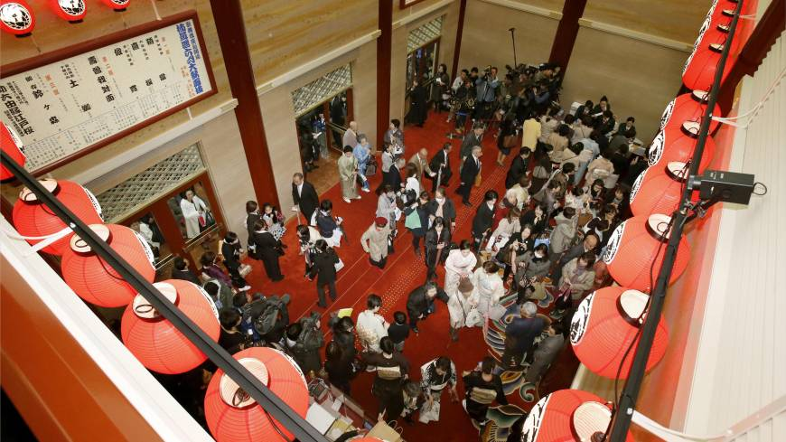 SRO: The lobby of the newly opened Kabukiza in Tokyo's Ginza district is crowded with people on Tuesday.