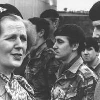 Margaret Thatcher meets British troops in Enniskillen, Northern Ireland, in 1981.  | AP
