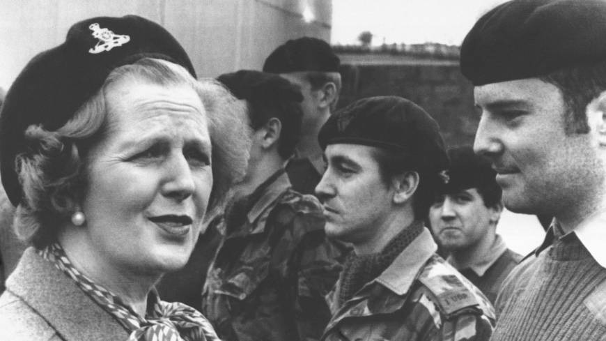 Margaret Thatcher meets British troops in Enniskillen, Northern Ireland, in 1981.