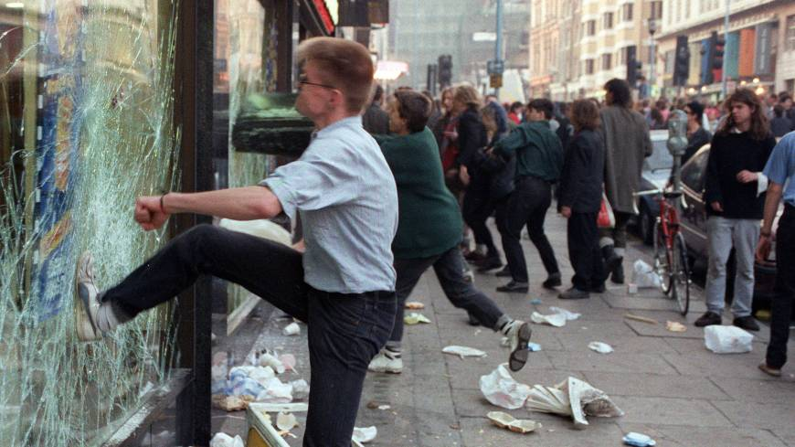 Demonstrators riot in London at the end a massive protest against the notorious poll tax, a new local taxation system, in March 1990.