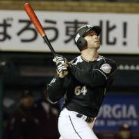 Banner night: Marines slugger Josh Whitesell hits three home runs in Chiba Lotte's 11-2 win over the Tohoku Rakuten Golden Eagles on Monday in Sendai. | KYODO