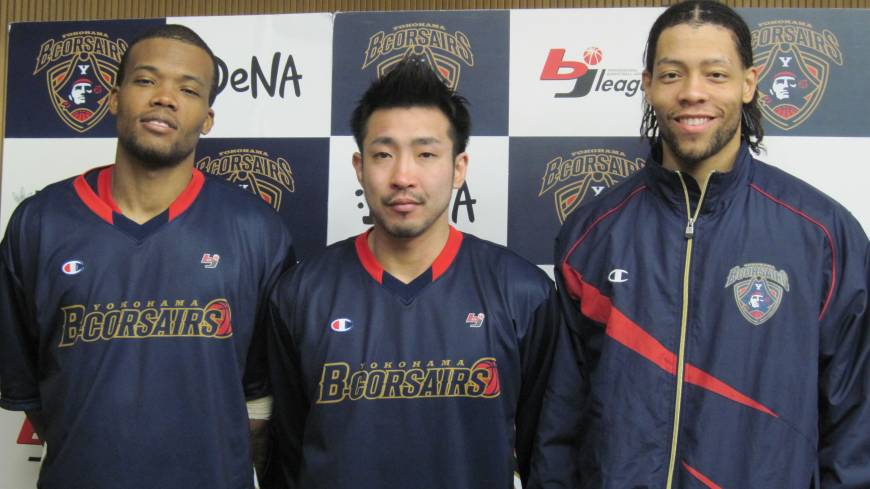 Talented trio: Draelon Burns (left), Masayuki Kabaya (center) and Thomas Kennedy have provided the Yokohama B-Corsairs with potent scoring output this season.