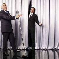Stepping aside: 'Tonight Show' host Jay Leno introduces Jimmy Fallon, host of 'Late Night,' in Los Angeles in this undated photo. | ap