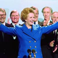 Iron will: British Prime Minister Margaret Thatcher acknowledges supporters at the end of the Conservative Party conference in Blackpool in October 1989. | AFP-JIJI