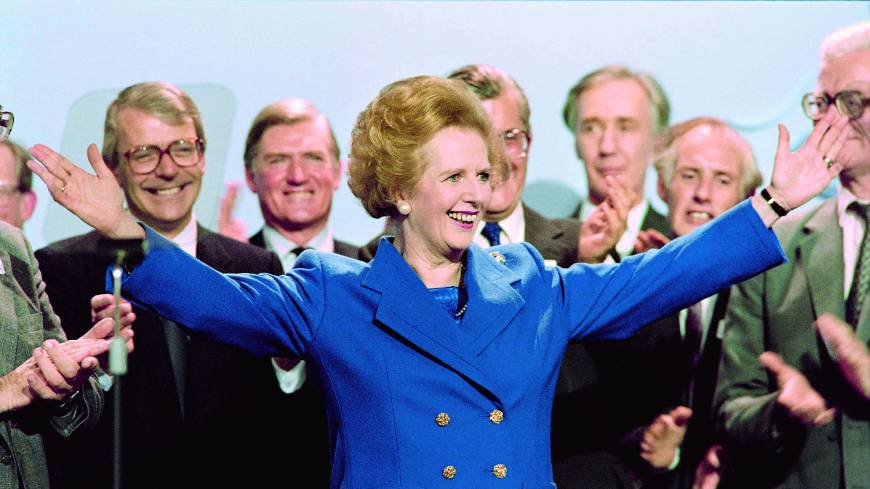 Iron will: British Prime Minister Margaret Thatcher acknowledges supporters at the end of the Conservative Party conference in Blackpool in October 1989.