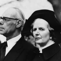 Unshaken: British Prime Minister Margaret  Thatcher and her husband, Denis, attend the funeral of her political adviser, Airey Neave, who was murdered by the Irish Nationalist Liberation Army, in Longworth, England, in April 1979. | AP