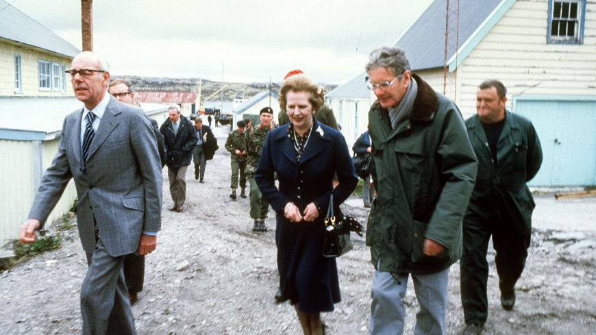 Margaret Thatcher tours the Falkland Islands in January 1983.