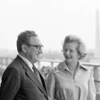 Margaret Thatcher, then-leader of the Conservative Party, meets with U.S. Secretary of State Henry Kissinger in  Washington in September 1975. | AP