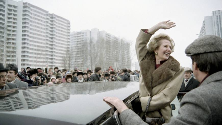 Cold warrior: British Prime Minister Margaret  Thatcher greets curious Muscovites who gathered to see her in the Soviet capital during her official visit to the Soviet Union in March 1987.
