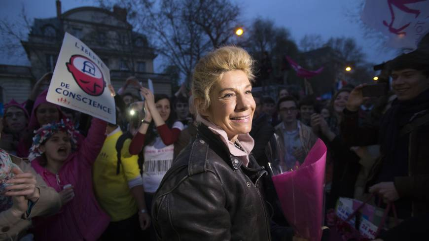 Leading the fight: Frigide Barjot, leader of the movement against gay marriage, attends a rally in Paris on Tuesday.