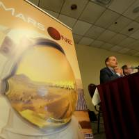 Spaced out: Mars One CEO Bas Lansdorp announces the launch of astronaut selection for a mission to the red plant during a news conference in New York on Monday. | AFP-JIJI