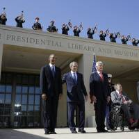 Past and present: President Barack Obama (from left) and former Presidents George W. Bush, Bill Clinton, George Bush and Jimmy Carter arrive for the dedication of the George W. Bush Presidential Center on Thursday in Dallas. | AP