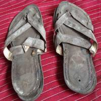 Worn soles: These sandals, owned by Mohandas Gandhi, will be auctioned in England on May 21. | AFP-JIJI