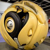 Revving up demand: The 'Beetle Sphere' by Indonesian artist Ichwan Noor is displayed at the Hong Kong Art Basel fair on Thursday. | AFP-JIJI