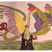 Adventures of the mind: 'Spangled Blengins. Boy King Islands. One is a young Tuskerhorian the other a human headed Dortherean' by Henry Darger.? | COURTESY OF LAFORET MUSEUM