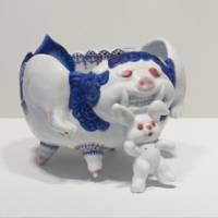 Oddly cute: 'Usawan' by Nao Hara takes the blue-and-white ceramic tradition to a new level. | YASUSHI ICHIKAWA PHOTO/ © NAO HARA; COURTESY OF TOMIO KOYAMA GALLERY