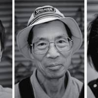 Shouting out: (L-R) Mr. Hirose,  a dedicated volunteer who helps the homeless in Tokyo and assists with disaster-relief supplies for Tohoku, says 'Go Japan!' Mr. Watanabe is a long-time volunteer who helps the homeless and less fortunate in Japan. His message is 'Let's unite our efforts!' Emily says she loves volunteering: 'It combines all the things that are meaningful to me — good food, wonderful friends, and a community activity that I can share in with my sons. This work has brought a sense of purpose to my life.' | © REMO CAMEROTA