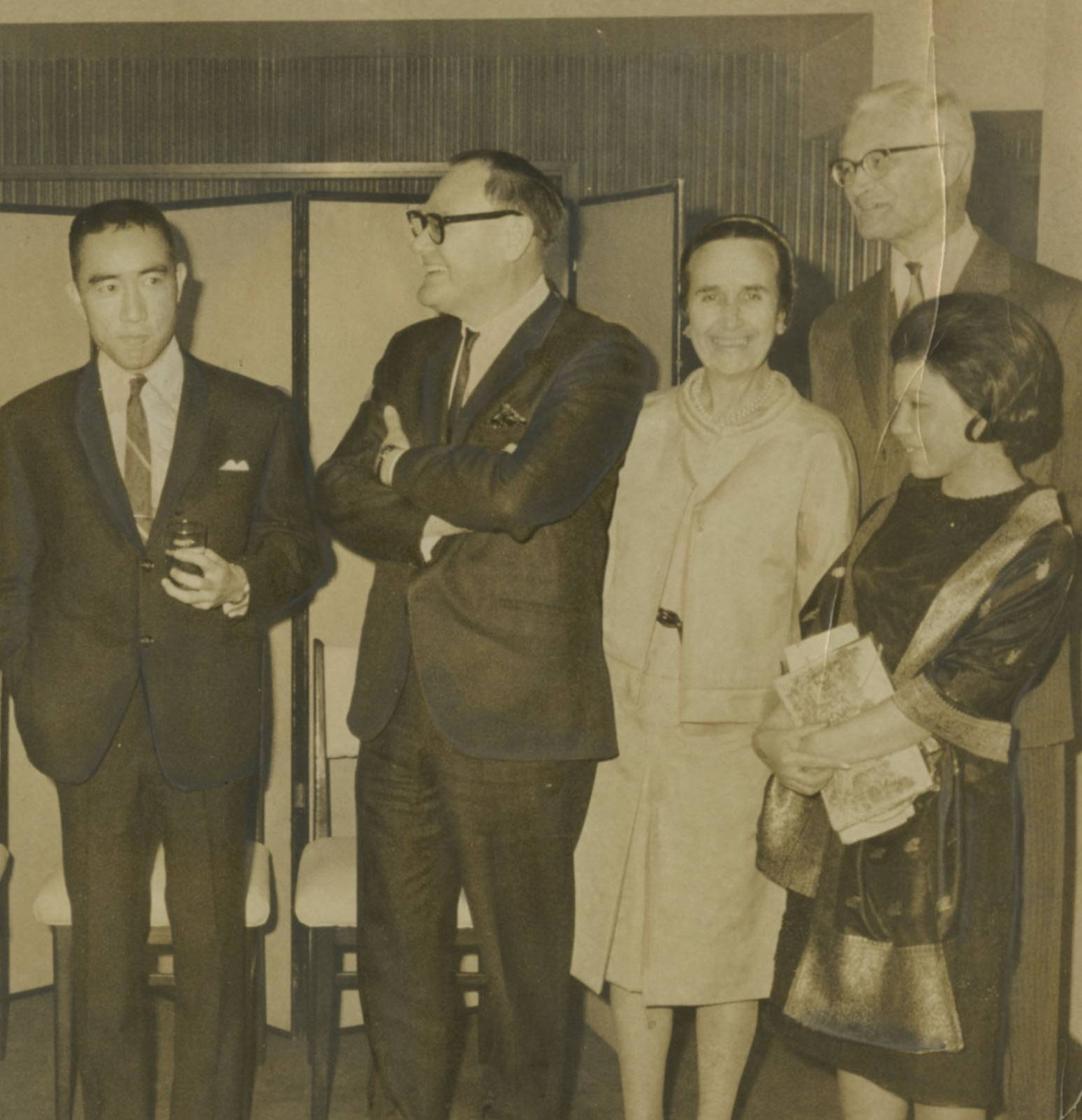 Celebrated: Guest of honor Yukio Mishima attends a dinner at the Foreign Correspondents Club in Tokyo on April 18, 1966, with (from right) his wife, Yoko, Swedish Ambassador Karl Fredrik Almqvist and his wife, and John P. Roderick, president of the FCCJ. | THE JAPAN TIMES