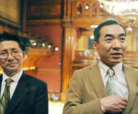 Wake up and smell the wasabi: Yukinobu Tajima (left) and Makoto Imai (right), shortly before attending the 2011 Ig Nobel Prizes ceremony. The men were among seven Japanese researchers awarded the prize in chemistry for inventing a fire alarm that warns people by emitting a pungent wasabi horseradish smell. | KYODO PHOTO