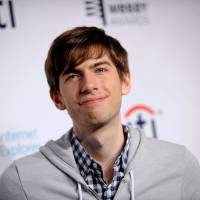 Reason to smile: David Karp, founder and CEO of social-blogging website Tumblr, at the 17th Annual Webby Awards in New York on May 21. | AP