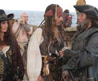 Rated 'Yaaaarrrrgh': Jack Sparrow (Johnny Depp, center) and chums. | PETER MOUNTAIN © DISNEY ENTERPRISES, INC. ALL RIGHTS RESERVED.