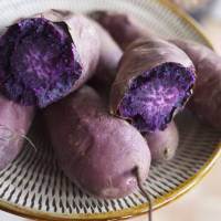 Colorful cuisine: Murasaki imo (purple sweet potatoes) are eaten steamed or used as a soft-serve ice-cream flavor and food coloring.