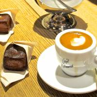 Kute kubes: Omotesando Koffee's cuboid Baked Custard treats are served here at Cafe Kitsune. | ROBBIE SWINNERTON