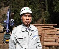 Logging on: Forestry worker Yoshiharu Ozawa, who is currently felling offending cedars in Ome City as part of the Tokyo Metropolitan Government initiative. | EDAN CORKILL