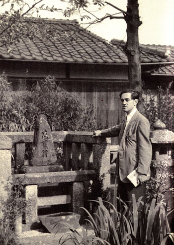 Ode to a legend: Donald Keene visits the tomb of Matsuo Basho, the famous haiku poet whom Keene admires, in Shiga Prefecture in 1953. | FROM