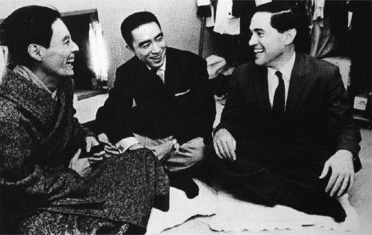 Backstage pass: Donald Keene with Yukio Mishima (center) and actor Hiroshi Akutagawa (left) after a staging of Mishima's play 'Black Lizard' in Tokyo in 1962. | FROM