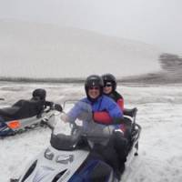 The author at the helm of a snowmobile on the Vatnajokull glacier in the Vatnajokull  National Park in southeast Iceland.