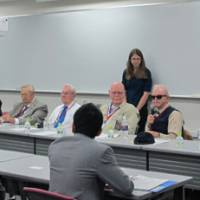 Wartime recollections: American POWs held by the Japanese in World War II speak at Temple University, Japan Campus, in Tokyo last month. | COURTESY OF INSTITUTE OF CONTEMPORARY ASIAN STUDIES (ICAS), TEMPLE UNIVERSITY, JAPAN CAMPUS