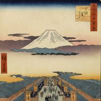 Lost horizons: 'Suruga-cho' (1856), a print from 'One Hundred Famous Views of Edo' by Utagawa Hiroshige, depicts a peaceful-looking Tokyo, with Mount Fuji readily seen and no neon obscuring the stars from this site in present-day Nihonbashi.