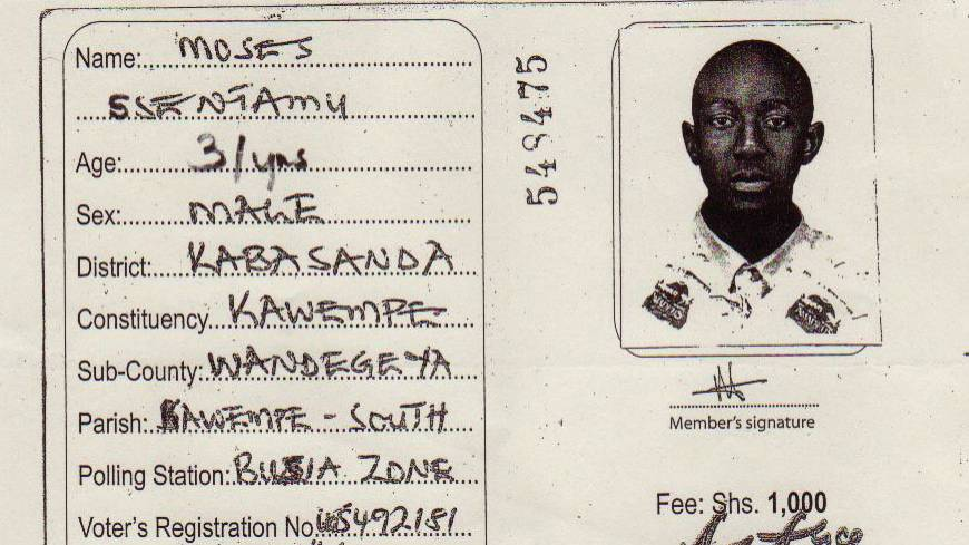 Paid in full: A Forum for Democratic Change membership card shows a younger Moses Ssentamu before he fled Uganda for Japan in 2006, having been detained several times for antigovernment activities.