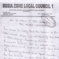 Scant protection: A laissez-passer letter from Moses Ssentamu's local council in Uganda. | COURTESY OF MOSES SSENTAMU
