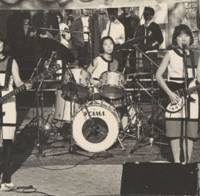 Park knife: Shonen Knife (from left: Mitchie Nakatani, Atsuko Yamano and Naoko Yamano) play at Sankaku Park in Osaka's America Mura neighborhood on Nov. 4, 1984.