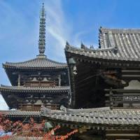 High art: Horyuji's Central Gate (Chumon) and the pinnacle atop its five-story pagoda.