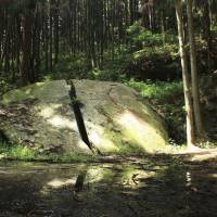 A boulder in the village of Yagyu which Yagyu Munetoshi, Yagyu Munenori's father, is said to have rent with his sword in a duel with a tengu. | ALON ADIKA