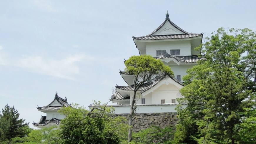 The towering presence of Iga Ueno Castle.
