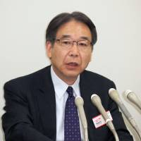 Bullish: Toshiba Corp. Corporate Executive Vice President Makoto Kubos speaks at a news conference in Tokyo on Wednesday. | KYODO