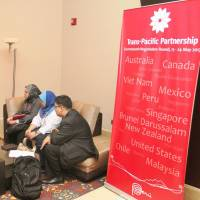 Getting in on the ground floor: Trade officials from Southeast Asian nations chat before 11 countries involved in the Trans-Pacific Partnership negotiations start their 17th round of talks in Lima on Wednesday. | PERUVIAN MINISTRY OF FOREIGN COMMERCE AND TOURISM/KYODO