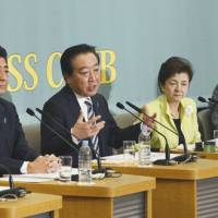 Words in edgewise: Prime Minister Yoshihiko Noda discusses the Democratic Party of Japan's policies during a debate on Friday in Tokyo by party leaders, including (from left) Shinzo Abe, head of the Liberal Democratic Party, Yukiko Kada, leader of Nippon Mirai no To (Tomorrow Party of Japan) and Shintaro Ishihara, head of Nippon Ishin no Kai (Japan Restoration Party). | KYODO