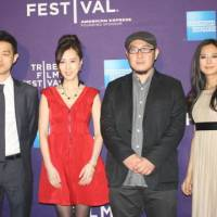 Big stage: Sound designer Jo Keita, actress Kiki Sugino, 'Odayaka' director Nobuteru Uchida and actress Yukiko Shinohara pose at the Tribeca Film Festival in New York on April 18. | KYODO