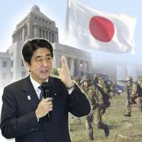 Into the breach: Spearheaded by Prime Minister Shinzo Abe, rightist forces are hoping to weaken the Diet requirements needed to enact constitutional revisions that, among other issues, could allow the Self-Defense Forces to exercise Japan's right to collective self-defense. | KYODO