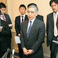 On point: Bank of Japan Gov. Haruhiko Kuroda speaks to reporters Friday in Aylesbury, England, ahead of a meeting of the Group of Seven financial chiefs.