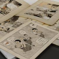 Unpublished Tezuka cartoon sheets shown