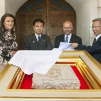 Peace stone from Hiroshima presented to Kosovo